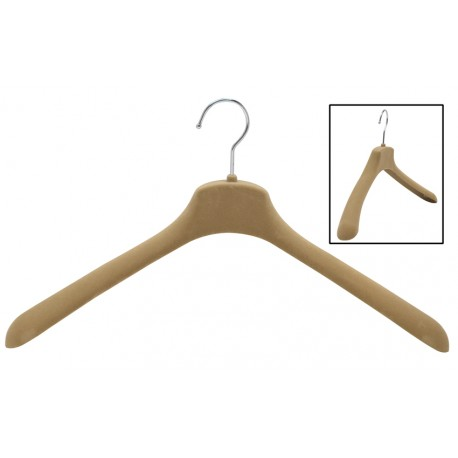 "17.5"" SlimLine Wide Shoulder Camel Coat Hanger"