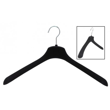"17.5"" SlimLine Wide Shoulder Black Coat Hanger"